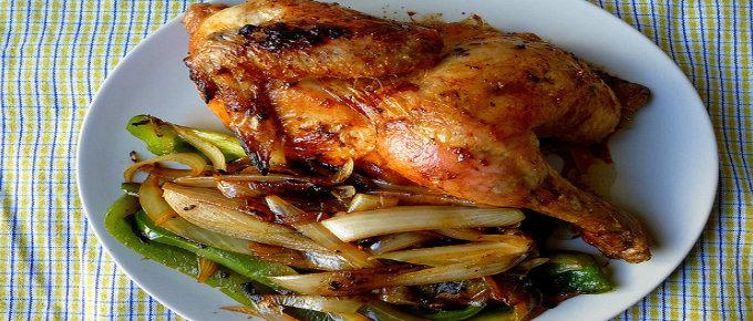 Pollo al forno con verdure saltate